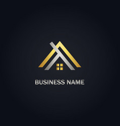 Home roof gold logo vector