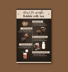 How to make bubble milk tea homemade ad content vector