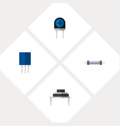 Icon flat electronics set of diode resistance vector