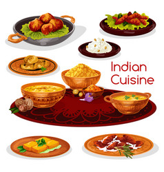 Indian cuisine thali dishes cartoon icon design vector
