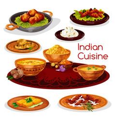 Indian cuisine thali dishes cartoon icon design vector