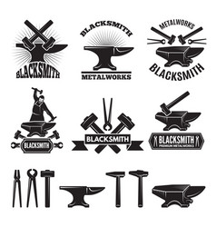 Industrial logo set labels for blacksmith vector