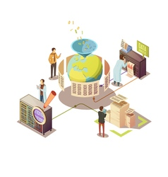 Information Processing Isometric Design vector image