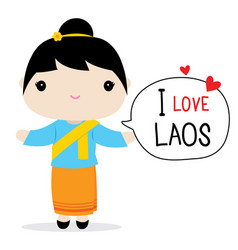 Laos women national dress cartoon vector