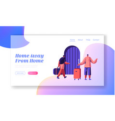 man character arrive at hostel building with bag vector image