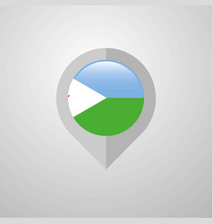 map navigation pointer with djibouti flag design vector image