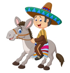 Mexican men riding a donkey isolated vector