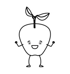 Monochrome silhouette of apple fruit caricature vector