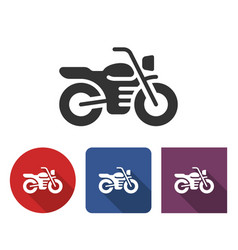 Motorcycle icon in different variants with long vector