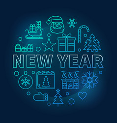 new year round blue bright in vector image