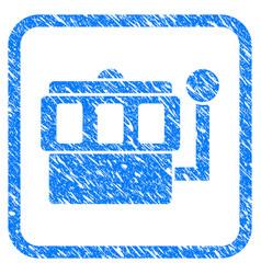 one-armed bandit framed grunge icon vector image