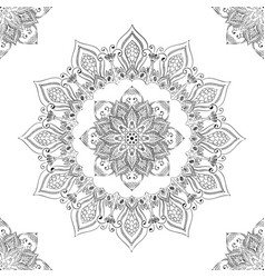 oriental mandala flower seamless pattern black vector image