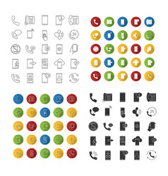 phone communication icons set vector image