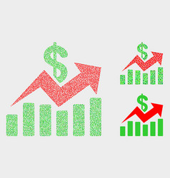 Pixel sales trend charts icons vector