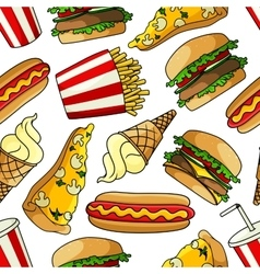 Pizzas burgers hot dogs drinks seamless pattern vector image