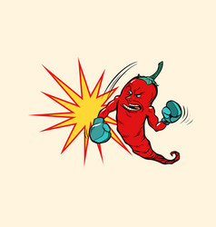 Red chili pepper boxer character vector