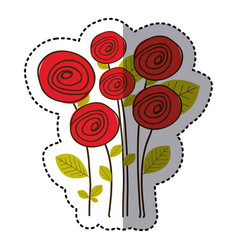 red round roses with leaves icon vector image