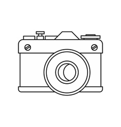 Retro photo camera icon outline style vector image