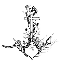 Romantic Old Anchor with Roses Black Ink vector image