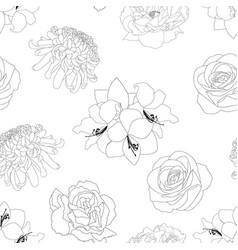 Rose chrysanthemum carnation peony and amaryllis vector