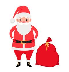 Santa claus and gifts bag vector