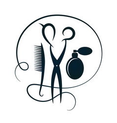 scissors and hairbrush for hairdressers silhouette vector image