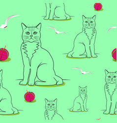 Seamless cats pattern birds globules on a light vector