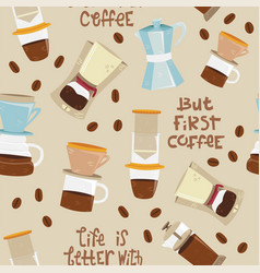 Seamless pattern with alternative coffee vector