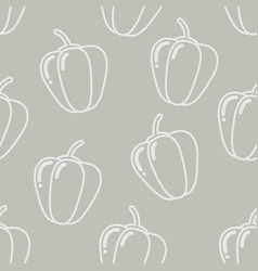 seamless peppers silhouette pattern vector image