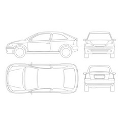 sedan car in lines isolated car template for car vector image
