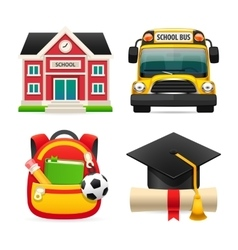 set four school icons vector image