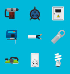 Set of 9 editable electric flat icons includes vector
