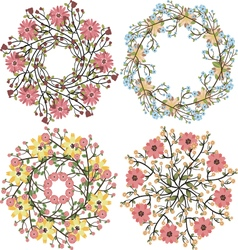 Set of floral bouquets template for wedding vector