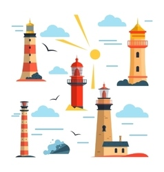 set of lighthouses Cartoon lighthouse vector image