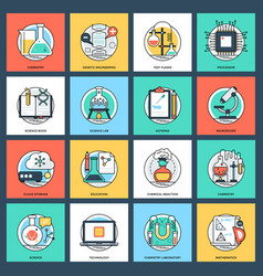 set of science and technology flat icons vector image