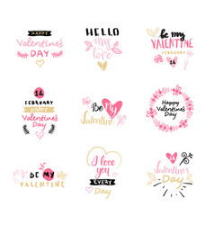 Set of valentines day typography lettering logo vector