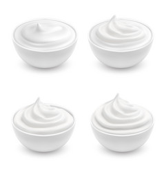 Set of white ceramic bowls with sour cream vector