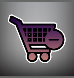shopping cart with remove sign violet vector image