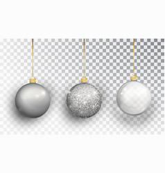 Silver christmas tree toy set isolated on a vector