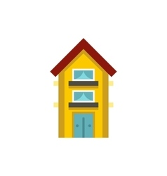 Small yellow two storey house icon vector image