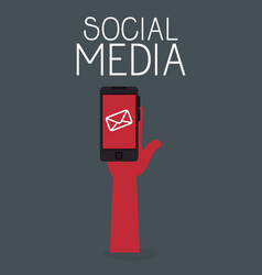 smartphone with social media icon vector image
