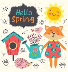 spring card with cute animals vector image