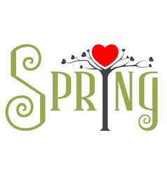 Spring is time love love tree blooms heart vector