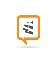 square orange speech bubble with two sail vector image