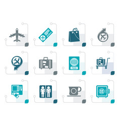 stylized airport travel and transportation icons vector image