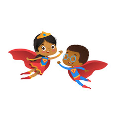 Superhero african friend character couple vector