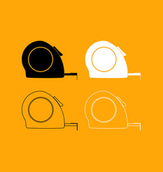 tape measure set black and white icon vector image