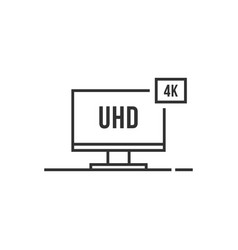 thin line 4k smart tv icon like uhd vector image