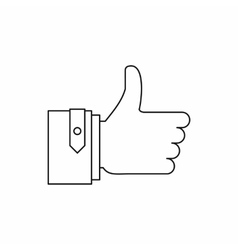 Thumb up gesture icon outline style vector