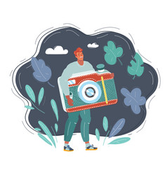 tiny man with photocamera in his vector image